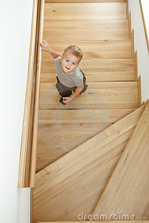 Little boy on stairs