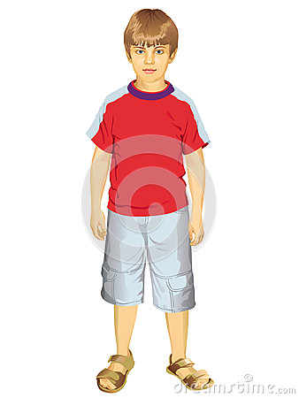Little Boy Standing Vector Illustration