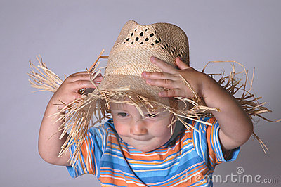 Little boy with straw hat