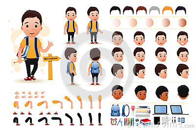 Little Boy Student Character Creation Kit Template with Different Facial Expressions Vector Illustration
