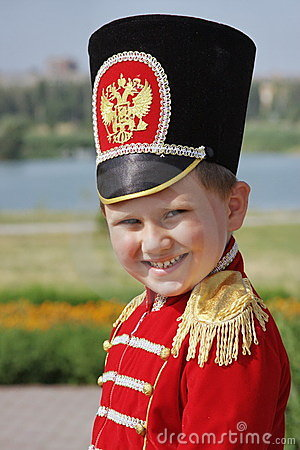 Little boy in the suit of hussar