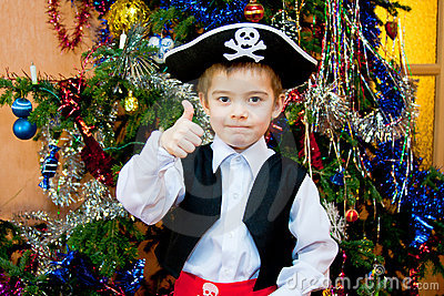 Little boy in the suit of pirate