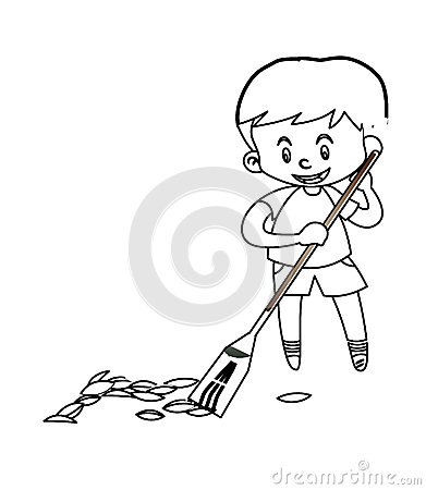 Free Little Boy Sweeping The Floor Coloring Page Stock Photography - 87361942