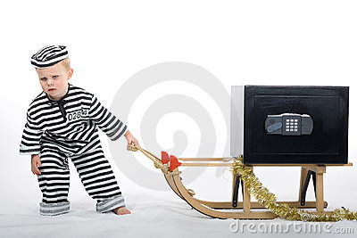 Little boy in thief outfit
