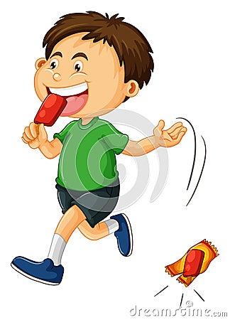 Free Little Boy Throwing Icecream Bag Royalty Free Stock Image - 68663666