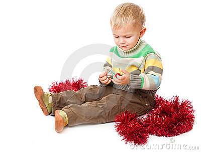 Little boy and tinsel