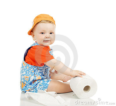 The little boy with a toilet paper