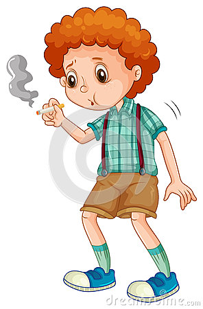 Free Little Boy Trying To Smoke Cigarette Royalty Free Stock Image - 58787596