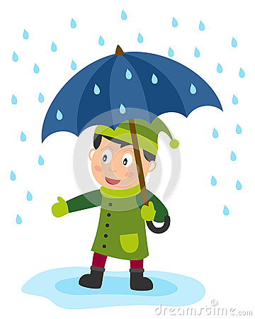 cute little boy with a blue umbrella in a rainy day. Eps file ...
