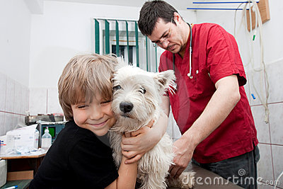 Little boy at vet with his dog
