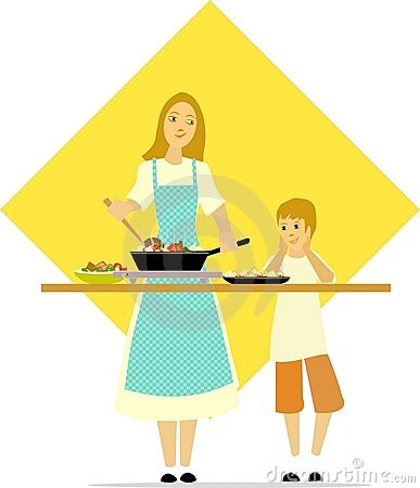 Free Little Boy Watches Mom Cooking Royalty Free Stock Photography - 9919097