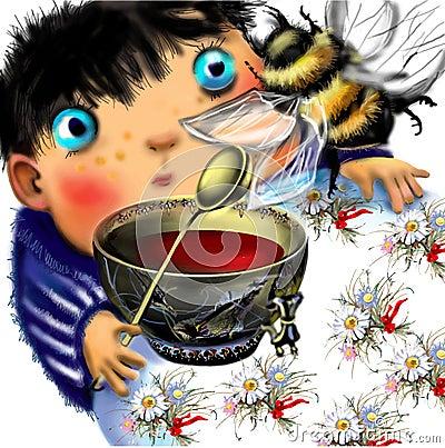 Free Little Boy Watching A Big Bumblebee Stock Photography - 59331482