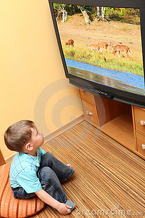 Little boy watching cinema on TV