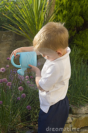 Free Little Boy Watering Herb Garden Royalty Free Stock Photo - 919165