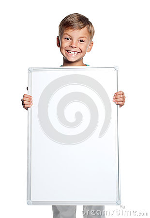 Little boy with white blank