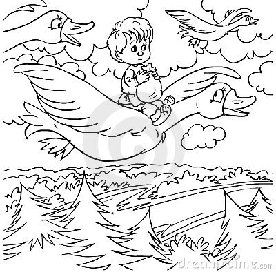 Little boy and wild geese