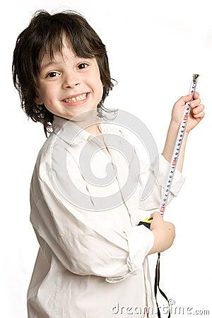 The little boy wish long tape-measure