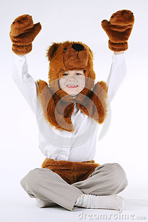 Free Little Boy With Bear Costume Stock Photography - 80350552