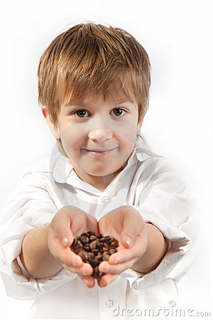 Free Little Boy With Coffee Beans Royalty Free Stock Images - 17124059