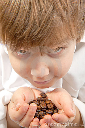 Free Little Boy With Coffee Beans Stock Images - 17139944