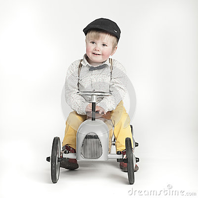 Free Little Boy With Toy Tractor Stock Photos - 37418133