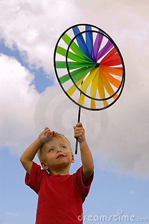 Free Little Boy With Windmill Royalty Free Stock Photography - 5482807
