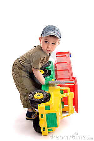 Free Little Boys Play With Toy Truck Royalty Free Stock Image - 5721146