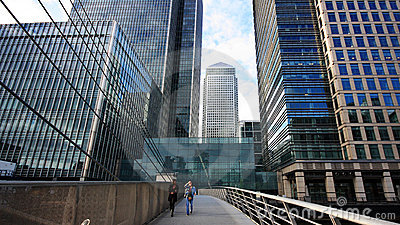 Little bridge, Canary Wharf, London Editorial Stock Image