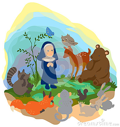 A little nun is preaching truth to animals in t