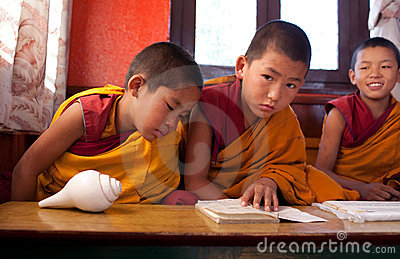 A little buddhist monks in monastery Editorial Photography