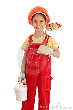 Little builder in coveralls with paintroller