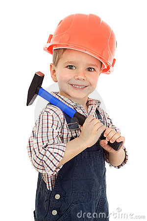 Little builder with hammer