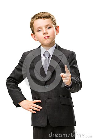 Little business man pointing finger gestures
