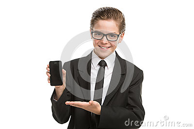 Little businessman with mobile phone.