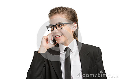 Little businessman on the phone.
