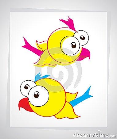Little cartoon bird in the sky. Vector illustration