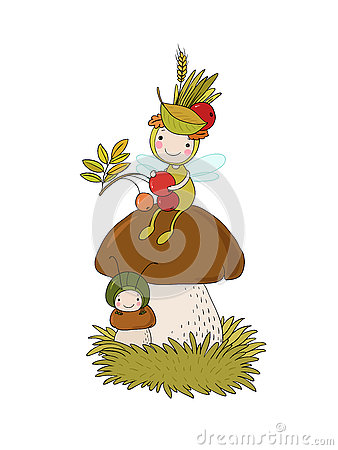 Free Little Cartoon Fairy Sitting On A Mushroom. Stock Image - 77873401