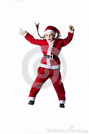 Free Little Caucasian Girl Dressed As Santa Claus Jumping On White Background. Stock Photos - 101930833