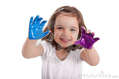 Little caucasian girl with hands painted