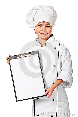 Little chef holding blank chefs menu board
