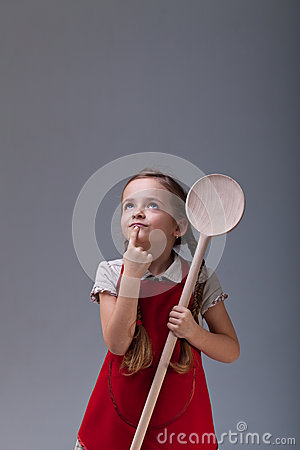 Free Little Chef Thinking About What To Cook Royalty Free Stock Photo - 33284535