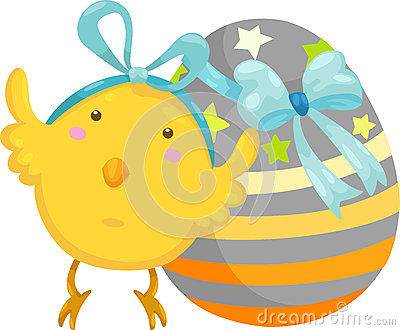 Little chick with easter egg vector