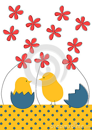 Little chicks Easter greeting card