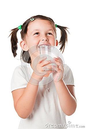 Little child drinking milk