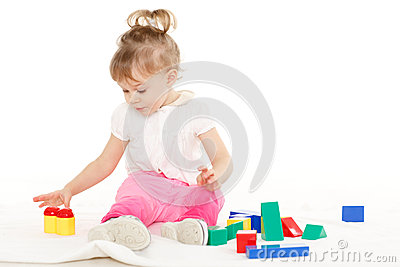 Little child with educational toys.