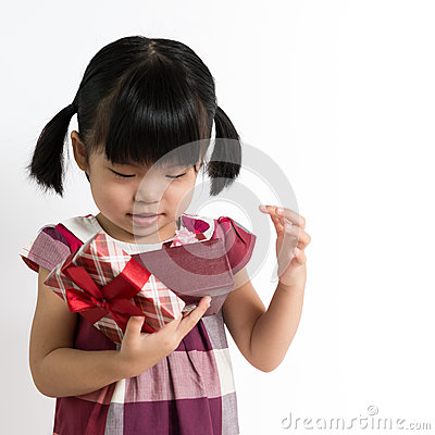 Little child with gift box