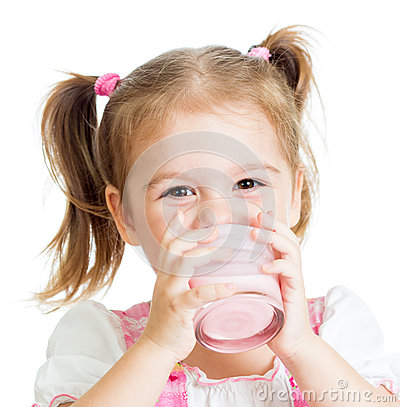 Little child girl drinking yogurt or kefir