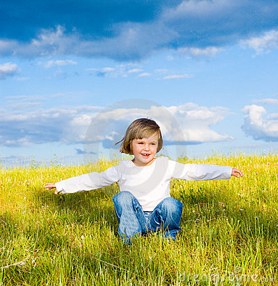 Little child in a meadow