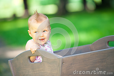 Little child in old wagon trolley