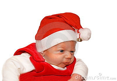 Little child in Santa suit
